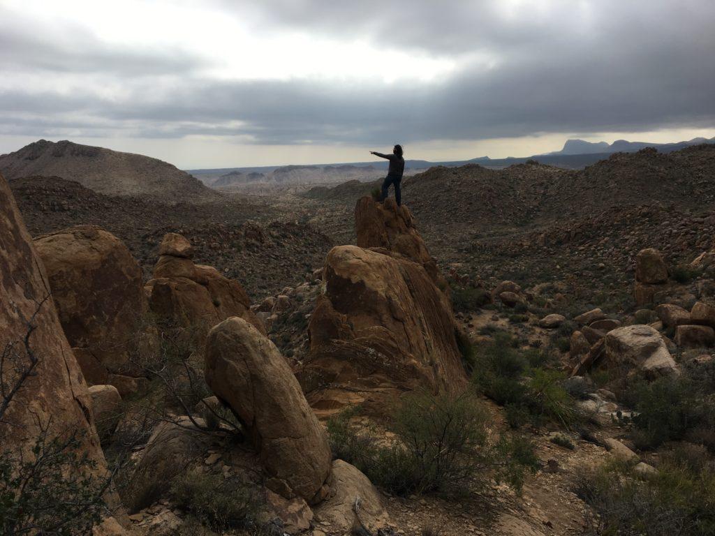 Balancing on rocks at Grapevine.